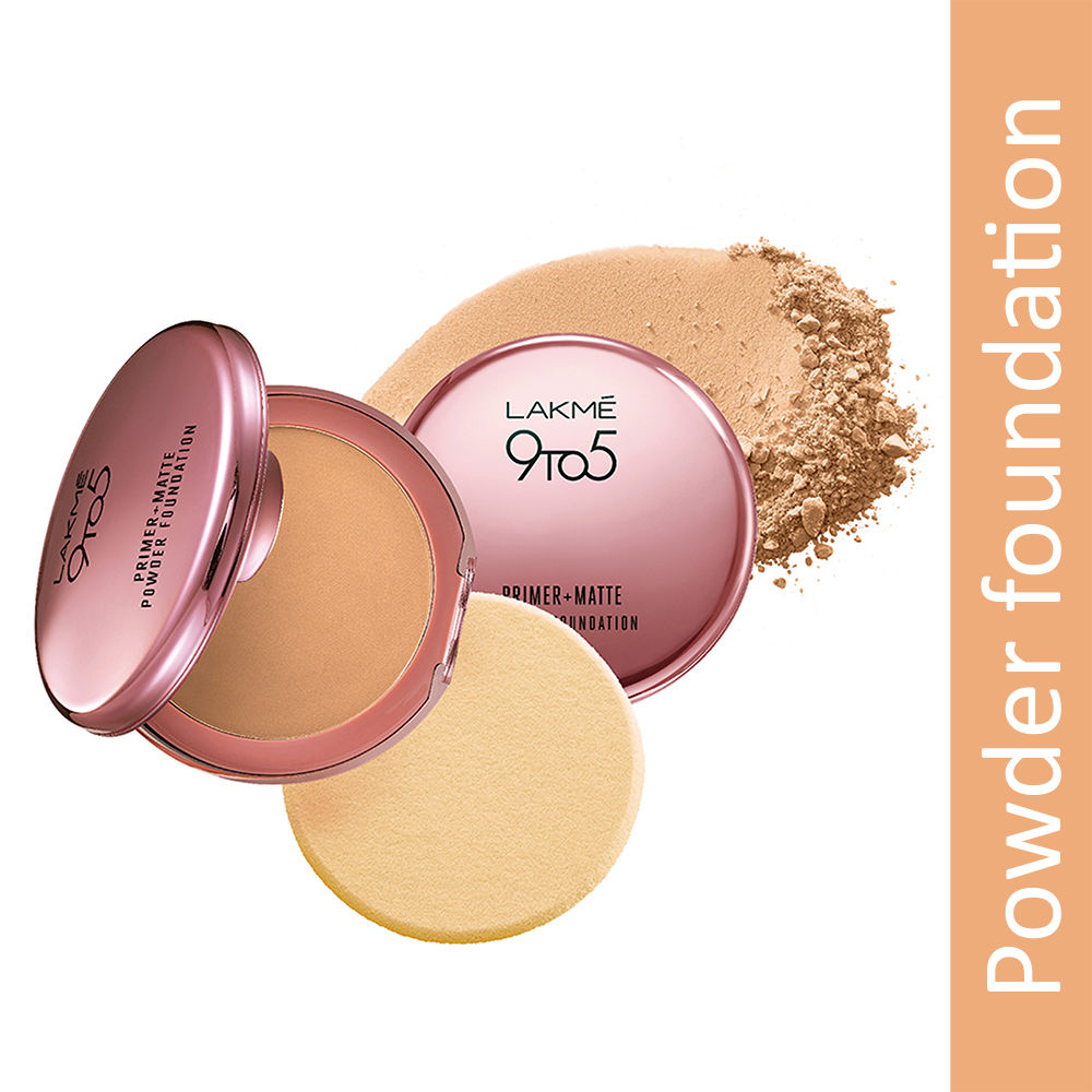Lakme 9 To 5 Primer + Matte Powder Foundation Compact, Natural Almond