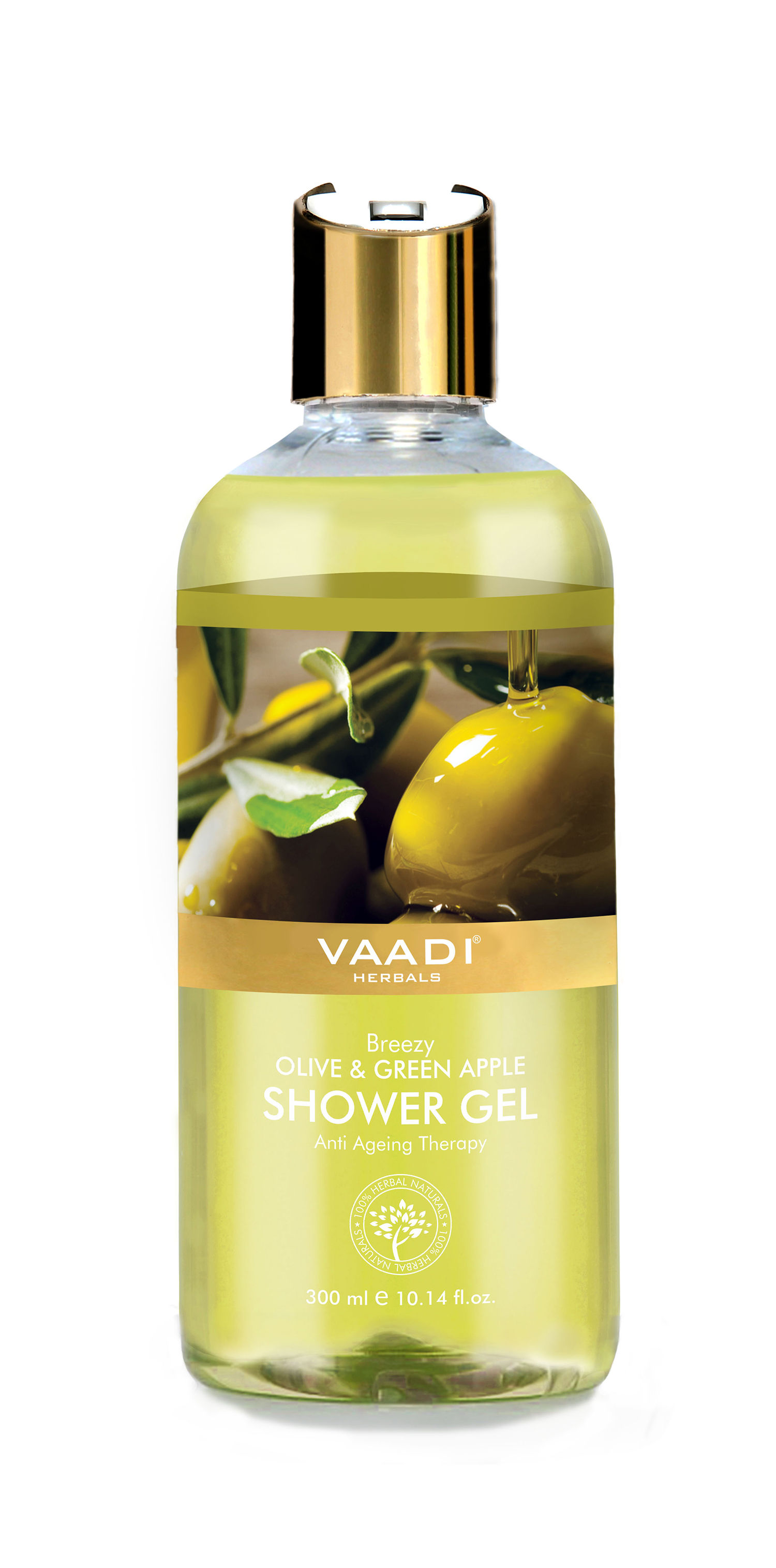 Vaadi Herbals Breezy Olive & Green Apple Shower Gel, 300 ML