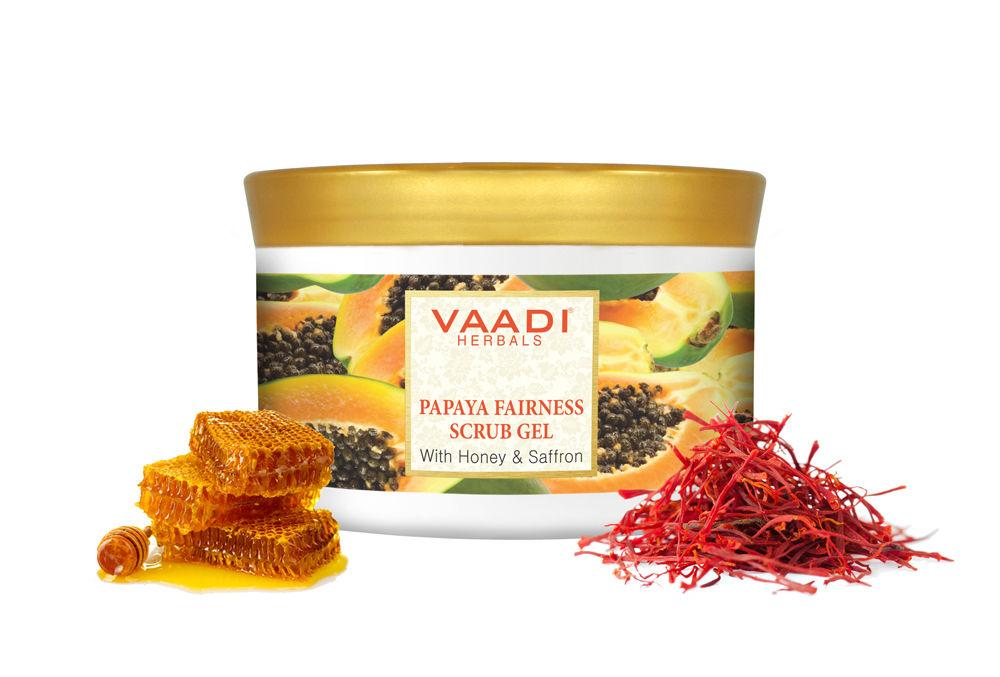 Vaadi Herbals Papaya Fairness Scrub Gel With Honey & Saffron Scrub, 500 Grams