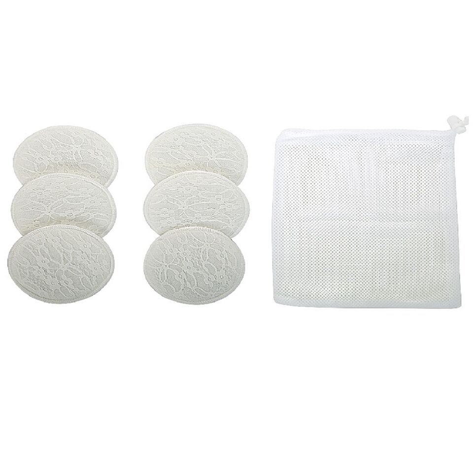 Mee Mee Washable Cotton Maternity Breast Pads - White (Pack Of 6)