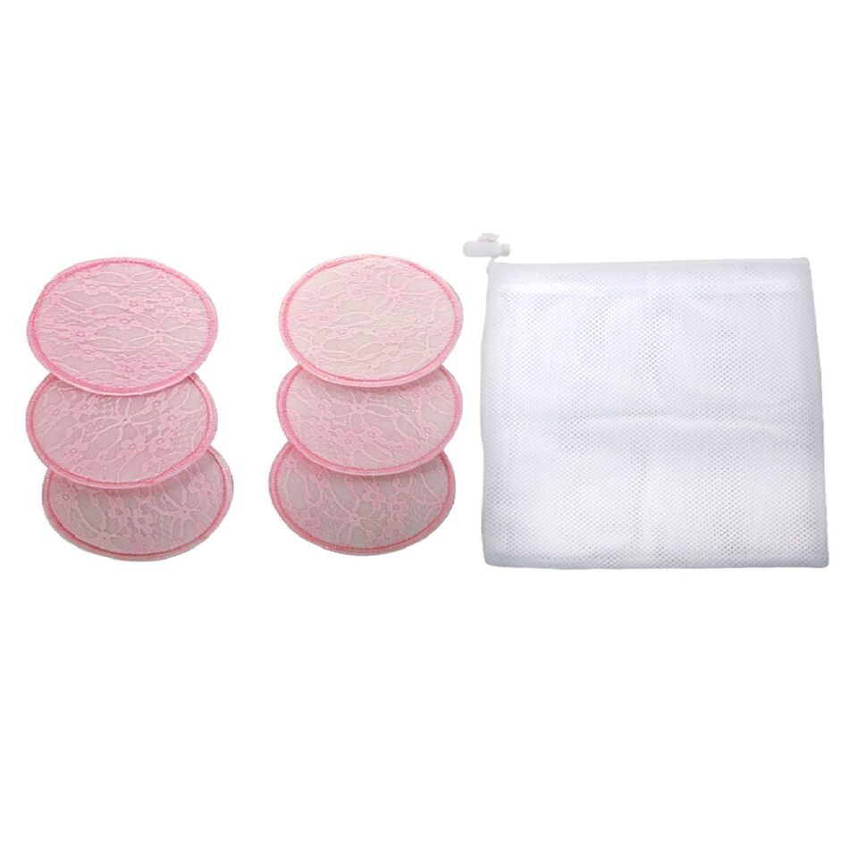 Mee Mee Washable Cotton Maternity Breast Pads - Pink (Pack Of 6)