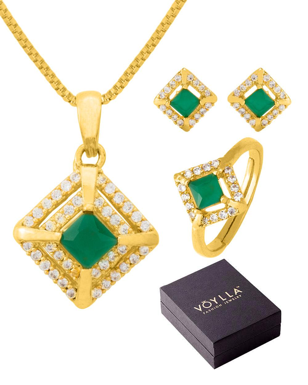 Voylla Jewelry Box Set With Cz Studded Pendant Set & Adjustable Ring