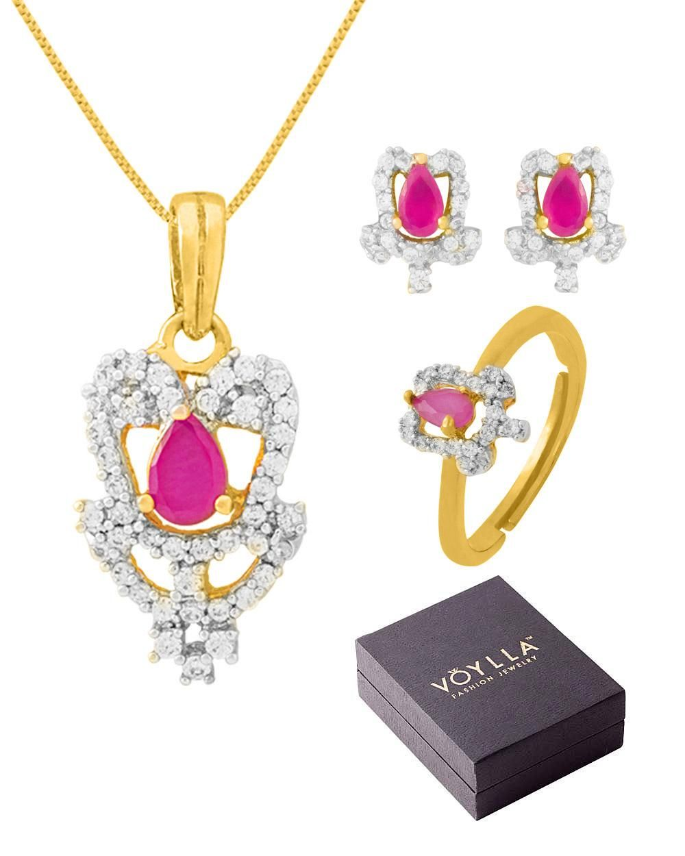 Voylla Floral Design Pendant Set & Adjustable Ring In Box