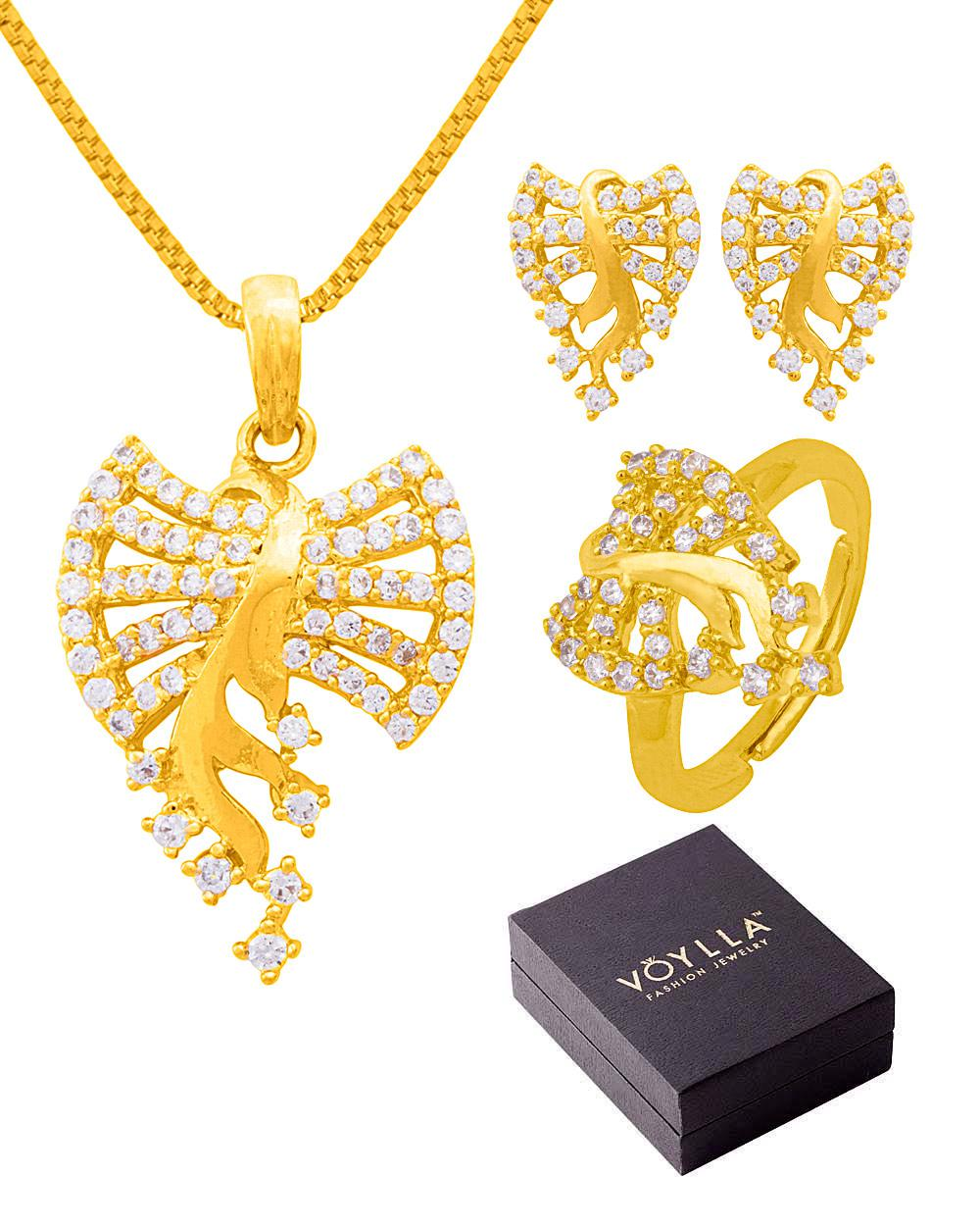 Voylla Bow With Tree Design Pendant Set & Adjustable Ring In Box