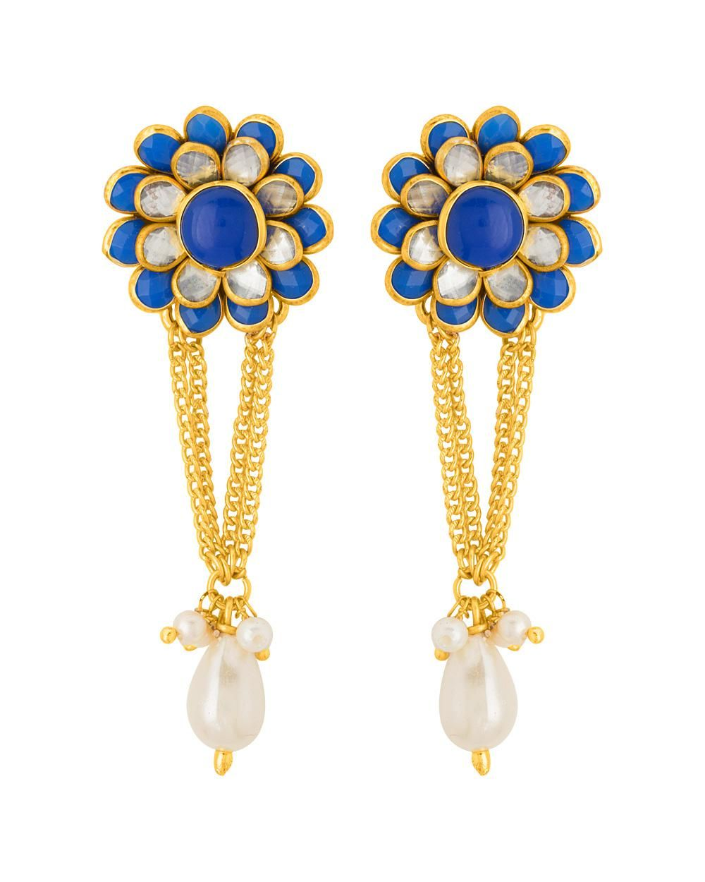 Voylla Yellow Gold Plated Blue Floral Earrings