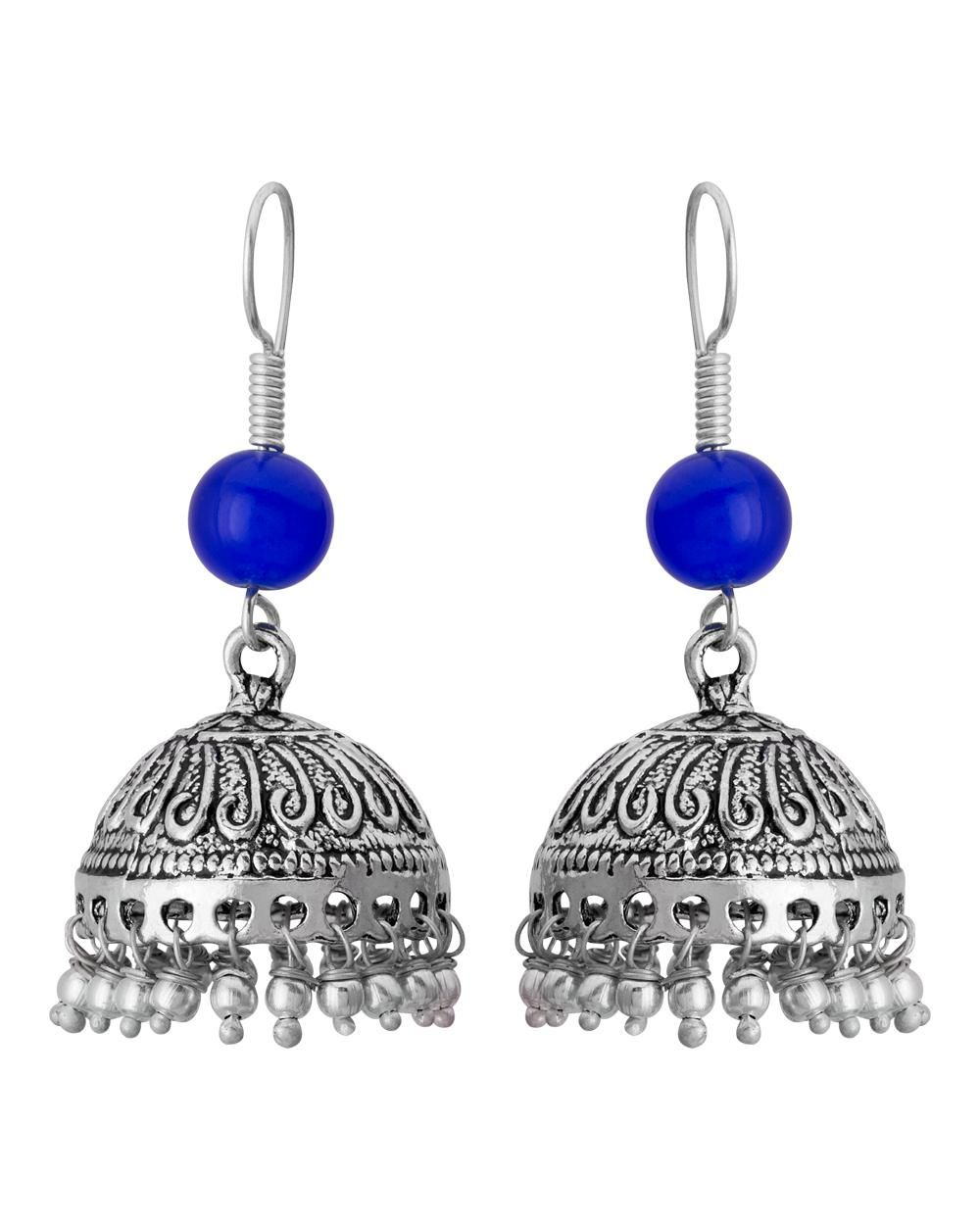 Voylla Traditional Jhumka Earrings With Blue Pearls