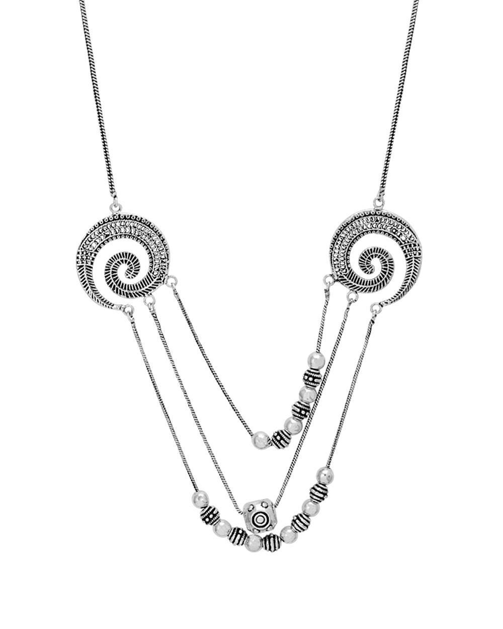Voylla Designer Statement Necklace With Oxidized Finish