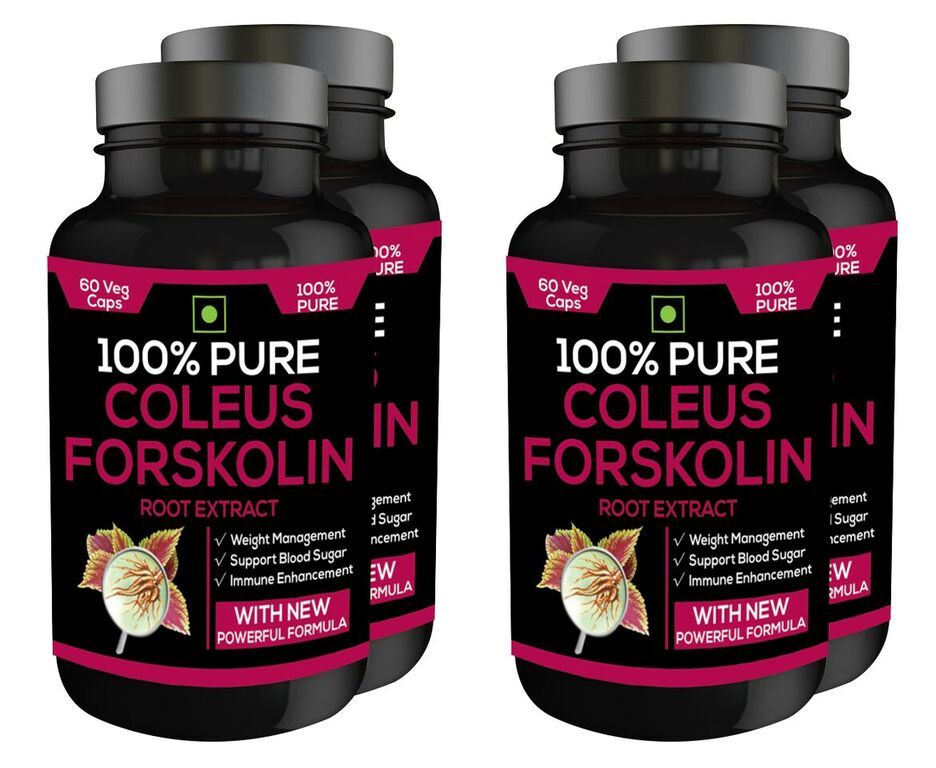 Nutravigour 100% Pure Coleus Forskolin 20% Extract 500mg 4x60 Veg Capsules Weight Management Supplement - Pack Of 6
