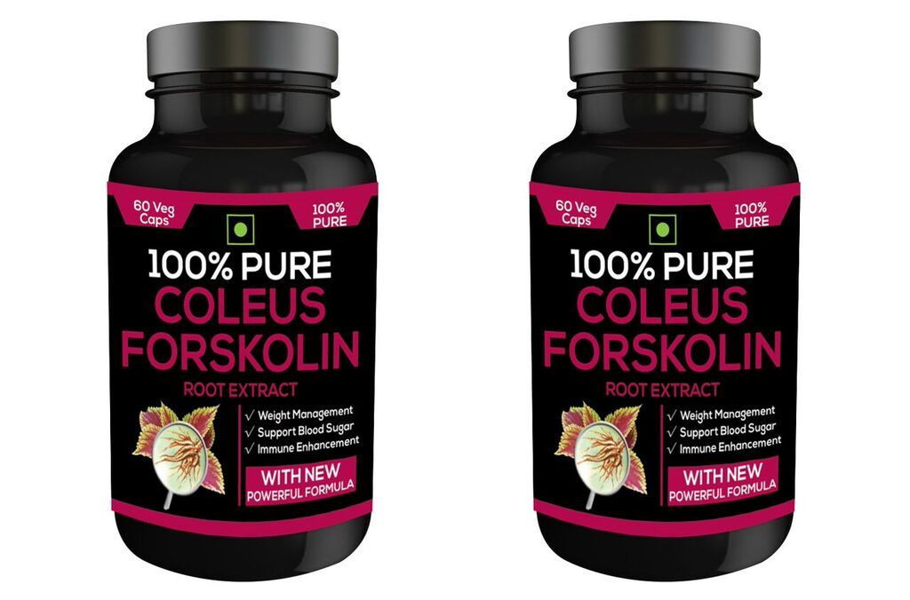 Nutravigour 100% Pure Coleus Forskolin 20% Extract 500mg 2x60 Veg Capsules Weight Management Supplement - Pack Of 2