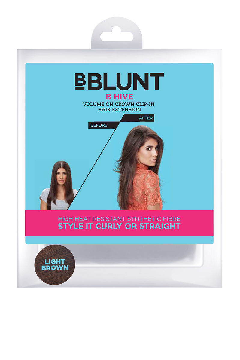 BBLUNT B Hive, Volume On Crown Clip-In Hair Extension, Light Brown