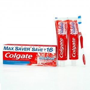Buy Colgate Maxfresh Spicy Red Toothpaste 300gm + Free Toothbrush - Nykaa