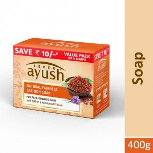 Buy Lever Ayush Natural Fairness Saffron Soap (Pack of 4) (Save Rs.10) - Nykaa