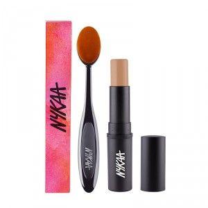 Buy Nykaa BlendMaster Contour Oval Brush +  SKINgenius Foundation Stick Concealer & Contour - Toffee Chisel 07 - Nykaa