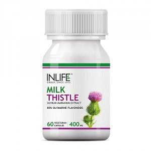 Buy INLIFE Milk Thistle (80% Silymarin) 400mg Liver Cleanse Detox Support Supplement - Nykaa