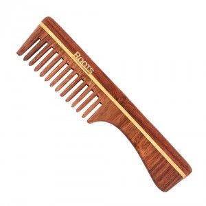 Buy Roots Rosewood Wide Teeth Comb for Wavy/Curly Long Hair with Handle 2104 - Nykaa
