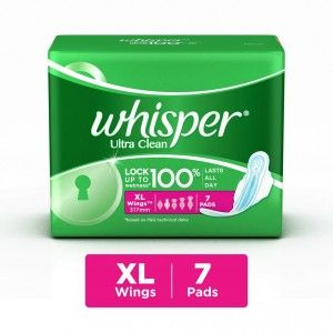 Buy Whisper Ultra Sanitary Pads Xtra Large Wings Size 7 pc Pack - Nykaa