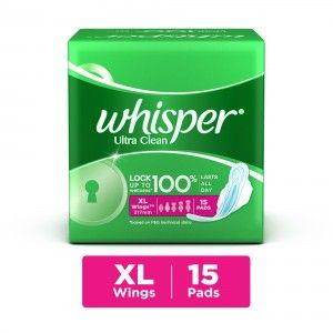 Buy Whisper Ultra Sanitary Pads Xtra Large Wings Size 15 pc Pack - Nykaa