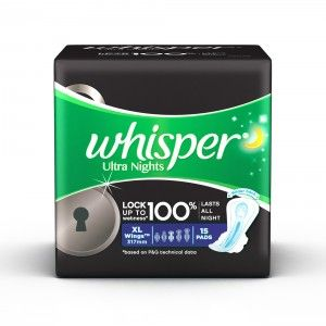 Buy Whisper Ultra Overnight Sanitary Pads Xtra Large Wings Size 15 pc Pack  - Nykaa
