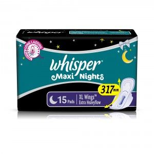 Buy Whisper Maxi Overnight Sanitary Pads Extra Large Wings 15 Pc Pack - Nykaa