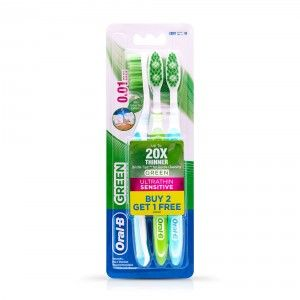 Buy Oral-B Ultrathin Sensitive Green Toothbrush 20x Thinner Buy 2 Get 1 Free - Nykaa