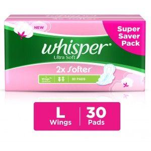 Buy Whisper Ultra Soft 2x Softer Large 30 Pads - Nykaa