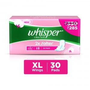 Buy Whisper Ultra Soft 2x Softer XL 30 Pads (Rs.45/- Off) - Nykaa