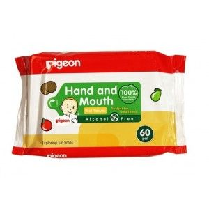 Buy Pigeon 2 In 1 Hand And Mouth Wipes (60 Sheets) - Nykaa