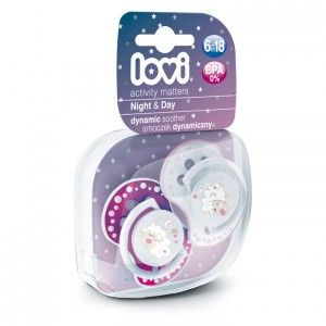 Buy Lovi Dynamic Soother Silicone 6-18 Month (Night&Day) Pink (Glows in the Dark) - Nykaa