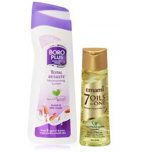 Buy Boroplus Total Results Moisturising Lotion - Badam & Milk Cream + Free Emami Hair Life 7 In 1 Oil - Nykaa
