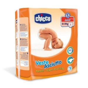 Buy Chicco Veste Asciutto Dry Fitting Diapers Junior - 17 Pieces - Nykaa