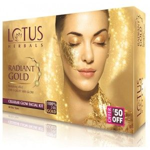 Buy Lotus Herbals Radiant Gold Cellular Glow Facial Kit (Off Rs.50) - Nykaa