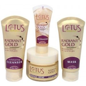 Buy Lotus Herbals Radiant Gold Cellular Glow Facial Kit+ Free WhiteGlow Skin Whitening & Brightening Gel Creme - Nykaa