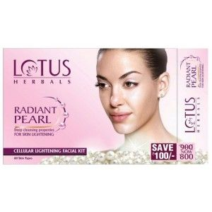 Buy Lotus Herbals Radiant Pearl Cellular Lightening 4 Facial Kit (Save Rs.100) - Nykaa
