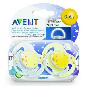 Buy Philips Avent 2 Orthodontic Silicone Night Time Soothers 0-6 M - Nykaa