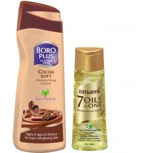 Buy Boroplus Cocoa Soft Moisturising Lotion + Emami Hair Life 7 In 1 Oil - Nykaa
