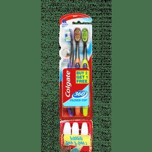 Buy Colgate 360 Floss Tip Toothbrush Buy 2 Get 1 Free - Nykaa