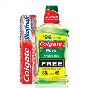 Buy Colgate Plax Fresh Tea Mouthwash (250ml) + Free Spicy Red Cooling Crystal Toothpaste (80gm) - Nykaa