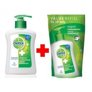 Buy Dettol Original Liquid Handwash + Orginal Liquid Handwash Pouch 185ml - Nykaa