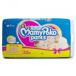 Buy MamyPoko Pants Diapers For New Born (3 - 5 Kg) - 32 Pieces - Nykaa