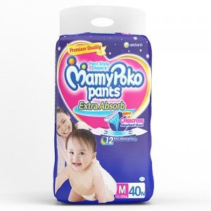 Buy MamyPoko Pants Extra Absorb Diapers - M (40 Pieces) - Nykaa