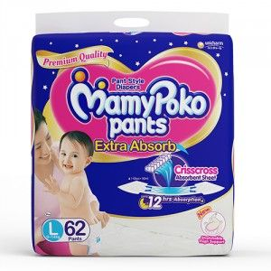 Buy MamyPoko Pants Extra Absorb Diapers - L (62 Pieces) - Nykaa