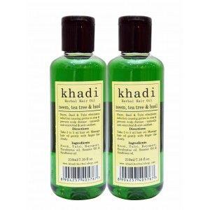Buy Khadi Neem,Tea Tree & Basil Hair Oil (Pack of 2) - Nykaa