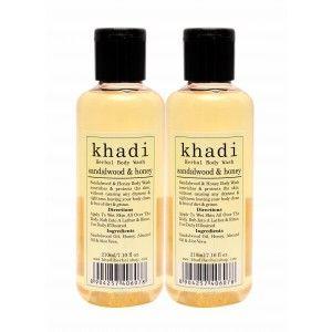Buy Khadi Sandalwood & Honey Body Wash (Pack of 2) - Nykaa
