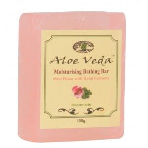 Buy Aloe Veda  Moisturising Bathing Bar - Wild Rose with Basil Extracts - Nykaa