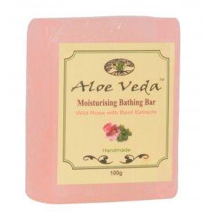 Buy Aloe Veda  Moisturising Bathing Bar - Wild Rose with Basil Extracts - Nykaa