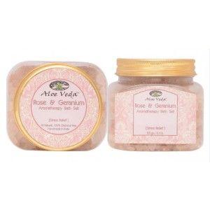Buy Aloe Veda  Aromatherapy Bath Salt - Rose & Geranium (stress relief) - Nykaa