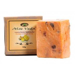 Buy Aloe Veda  Luxury Butter Bathing Bar - Orange & Ginger Scrub - Nykaa
