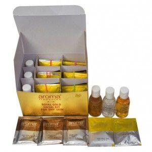 Buy Aroma Treasures Royal Gold Facial Kit For Dry Skin + Free Argan Liquid Gold Hair Spa - Nykaa