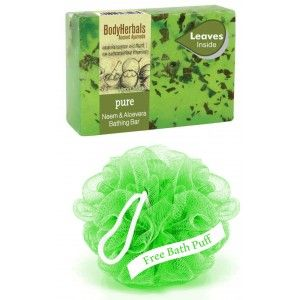 Buy BodyHerbals Pure, Hand Made Neem & Aloevera Bathing Bar With Natural Leaves - Nykaa