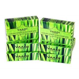 Buy Vaadi Herbals Super Value Pack Of 6 Enticing Lemongrass Scrub Soap - Nykaa